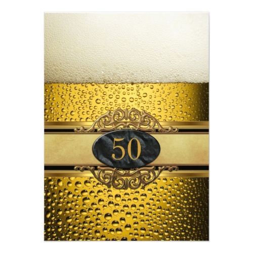 50th mans beer black gold birthday party invitation 50th birthday