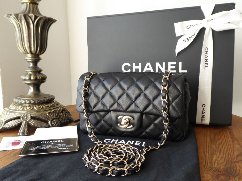 534fe315d9e2 Chanel Mini Rectangular Flap in Black Lambskin with Pale Gold Hardware  Chanel Mini Rectangular Flap in Black Lambskin with Pale Gold Hardware  Chanel Mini ...