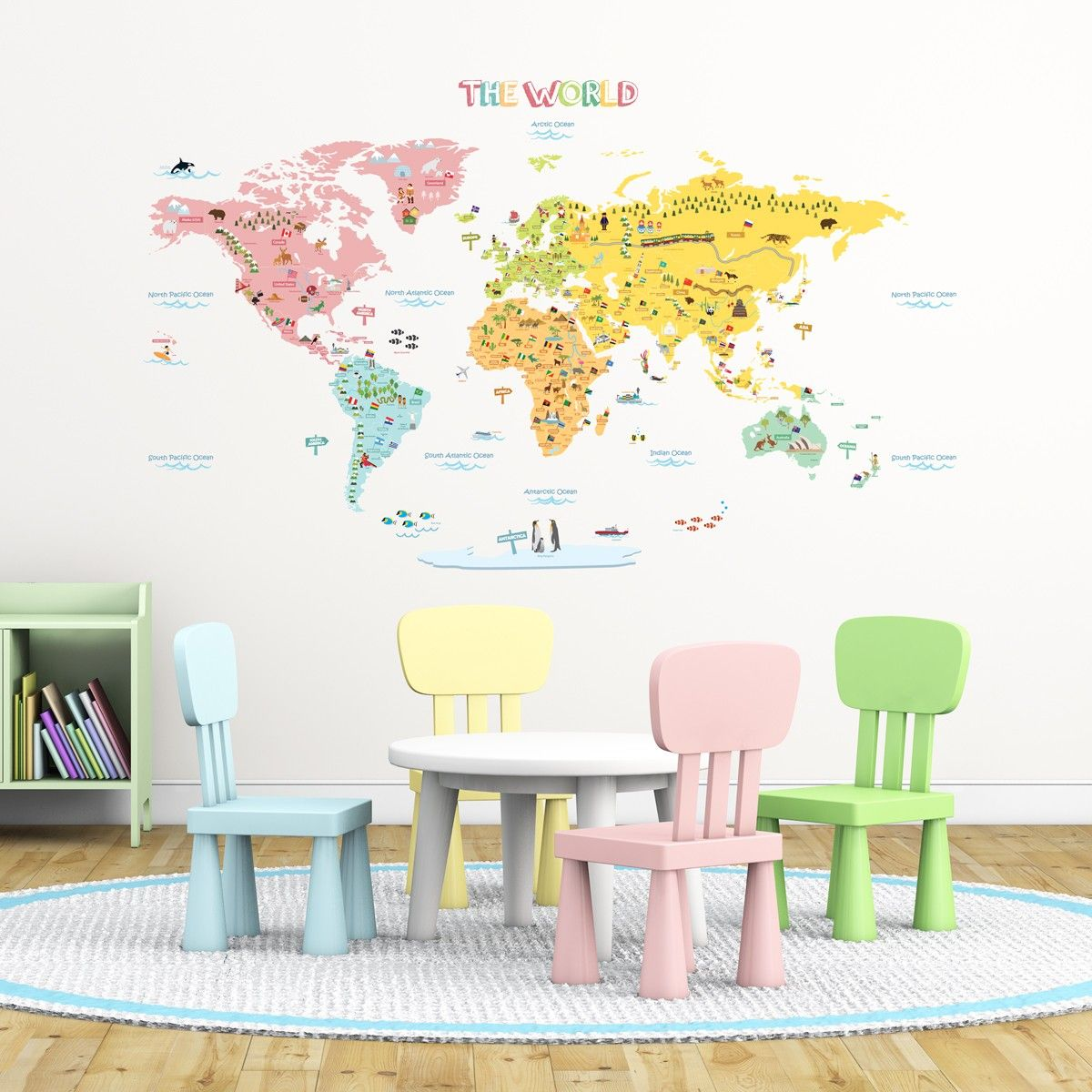 Dropshipping Decoration Colourful World Map Nursery Kids Wall Stickers