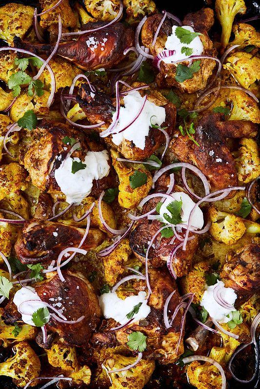 Sheet Pan Tandoori Chicken and Cauliflower {Paleo, Keto, Whole30} - Tasty Yummies #tandoorichicken