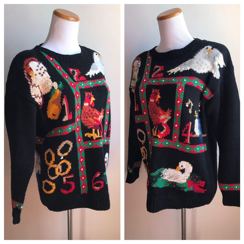 Vintage Ugly Christmas Sweater 12 Days Of Christmas Black