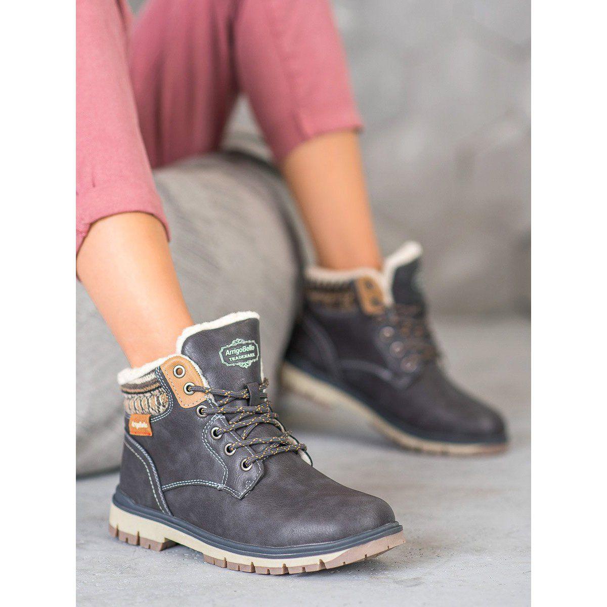 Arrigo Bello Sznurowane Trapery Szare Boots Womens Boots Boot Shoes Women