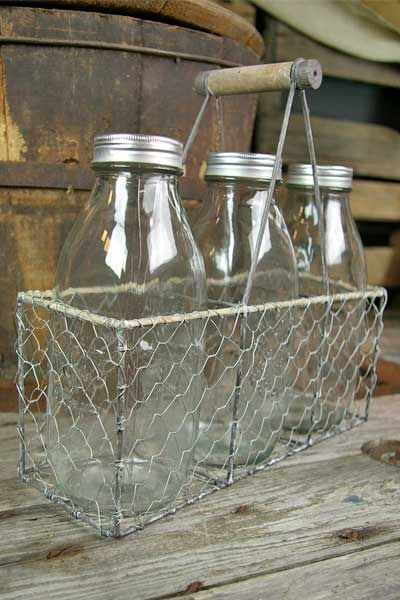 Chicken Wire Basket Wood Handle Three Glass Milk Bottles With Lid