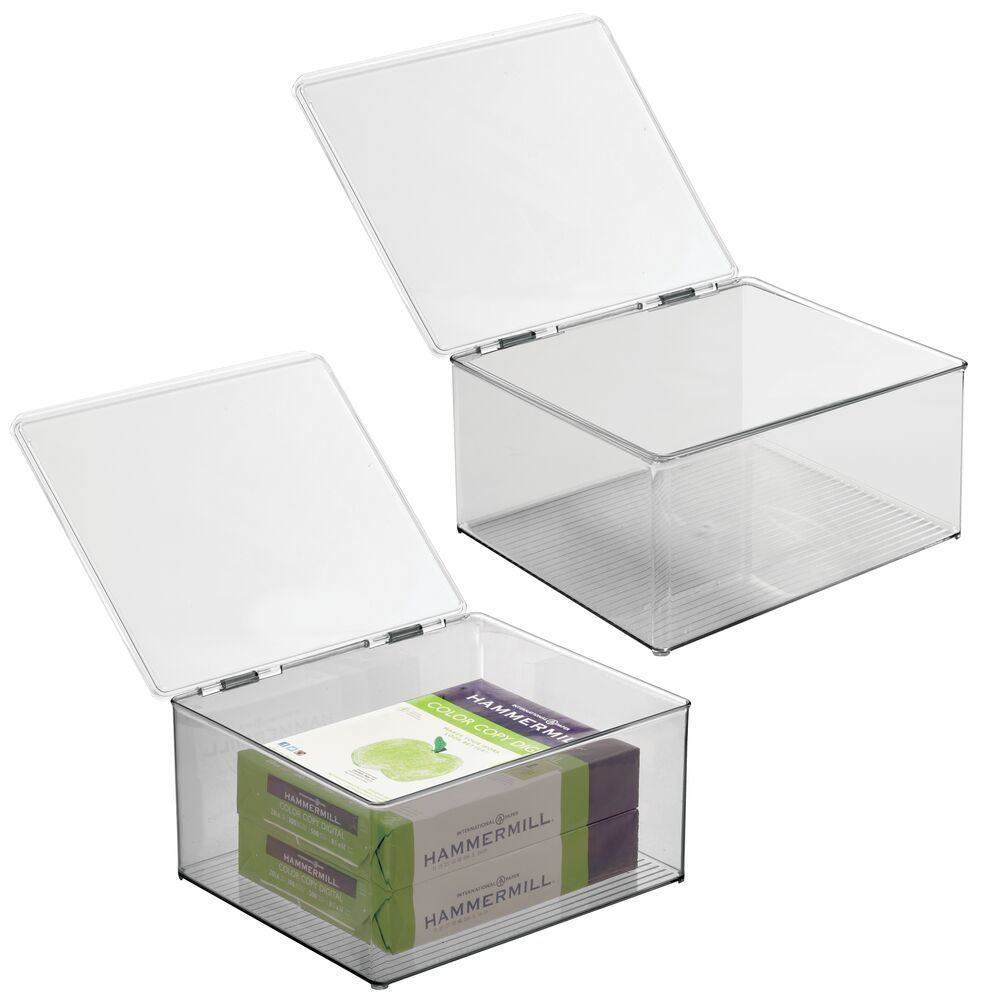 Plastic Stackable Home Office Storage Box With Lid