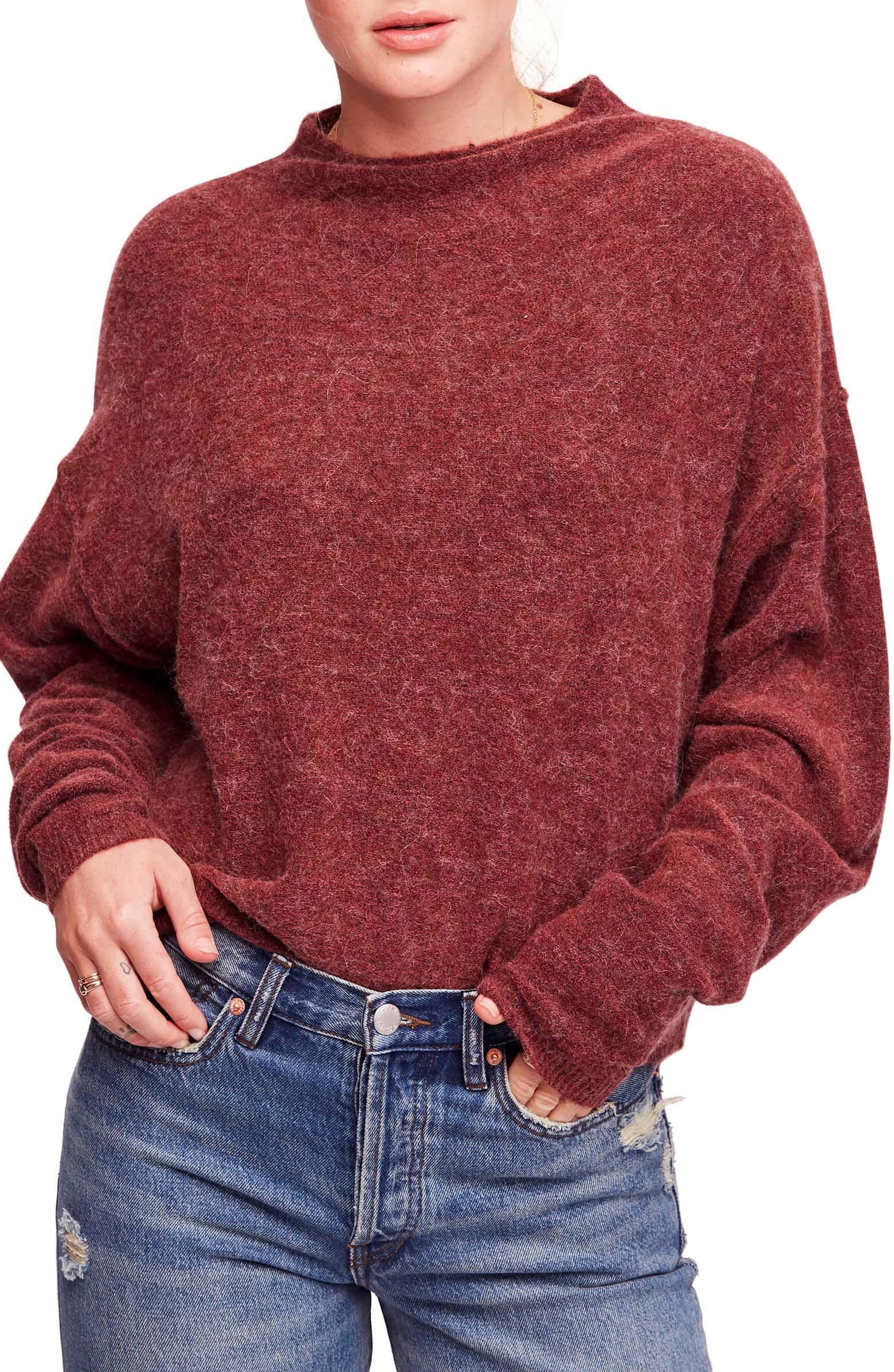 5e21c934c Breakaway Sweater, Main, color, DARK PINK Mock Neck, Sweaters For Women,