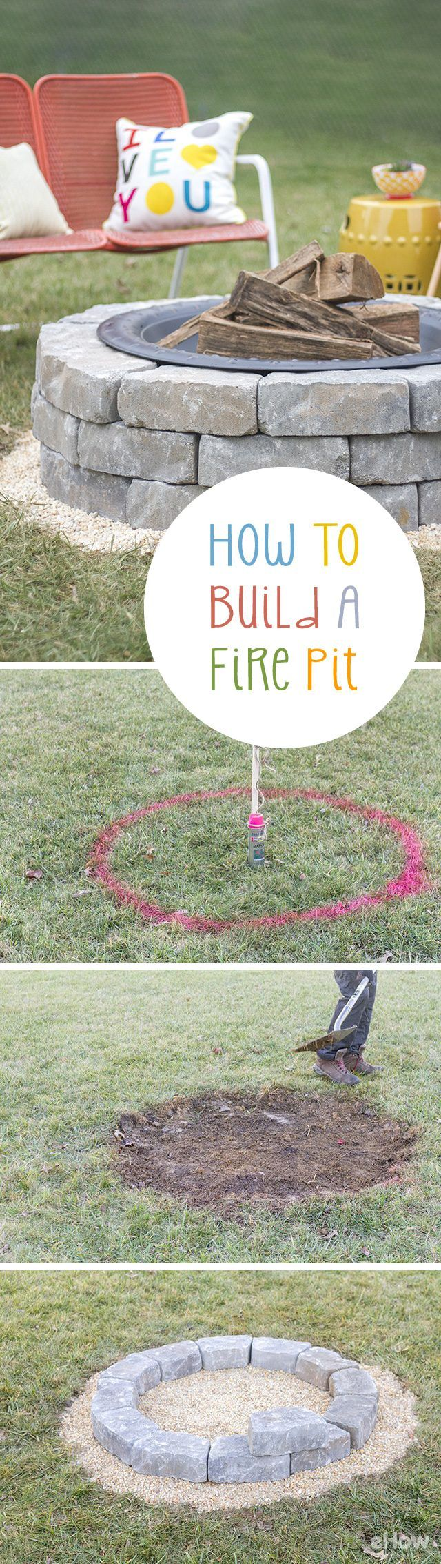 how to build a fire pit with landscape wall stones backyard