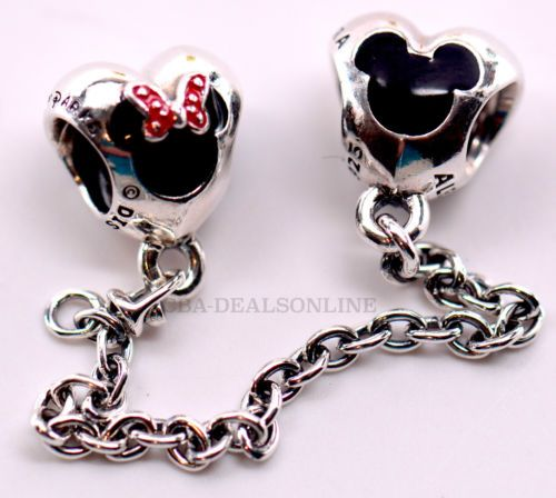 f4bf45652 NEW-Disney-Pandora-Disney-Parks-Authentic-Mickey-Minnie-Hearts-Safety-Chain
