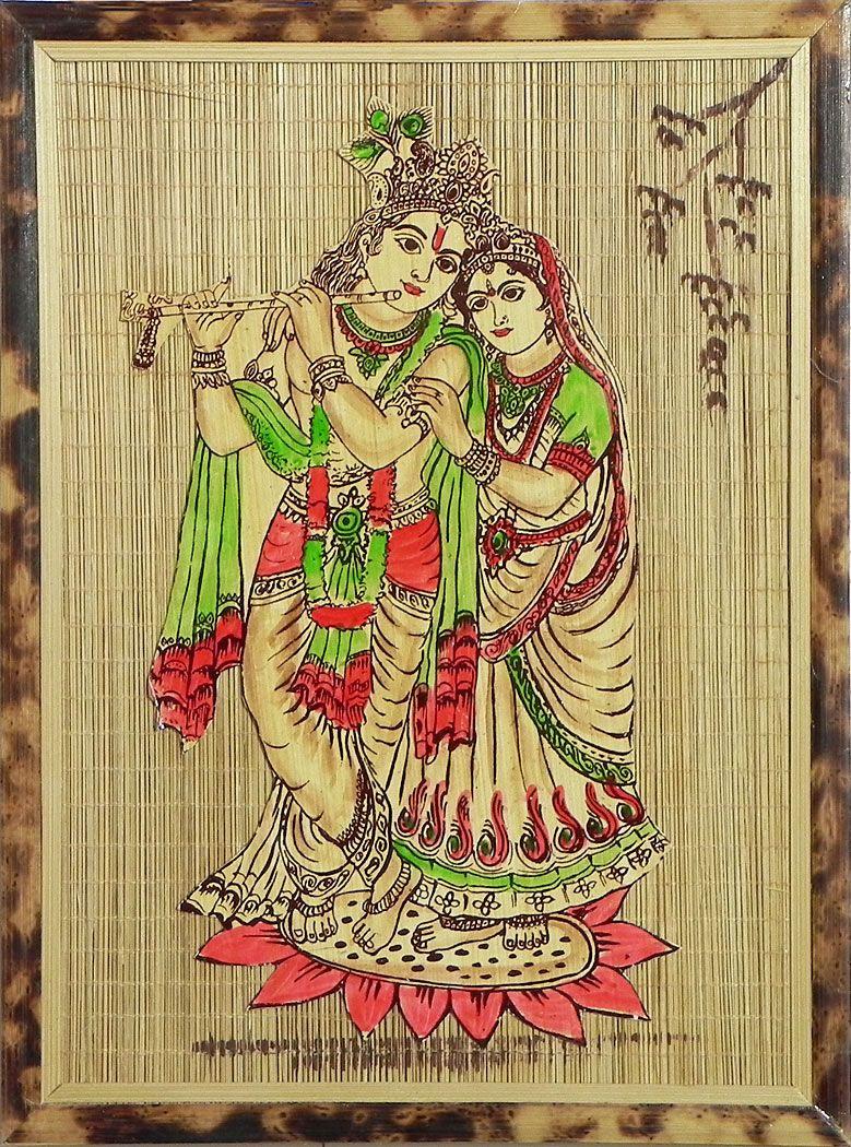 Radha Krishna - Wall Hanging (Bamboo) | Wood Sculptures depicting ...