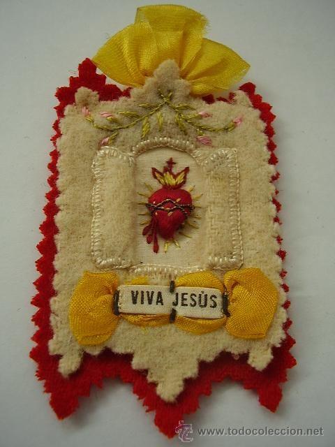 Detente Bala Antiguo Corazones Bordados Sentido Bordado Artesania Religiosa