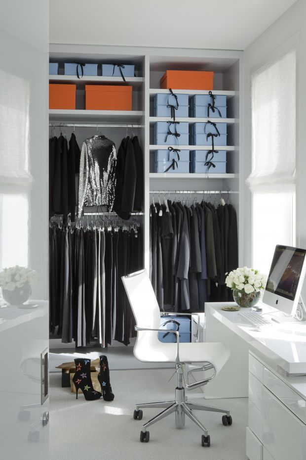 home office and closet combination with pretty boxes for storage - I love the ribbon ties #closet