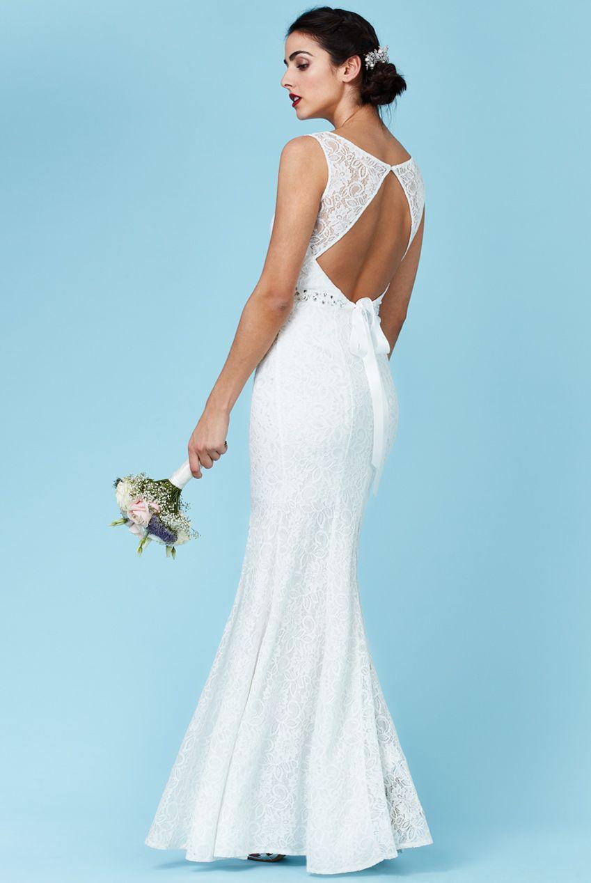 Goddiva Womens White Maxi Wedding Dress with Embellished Belt, Open ...