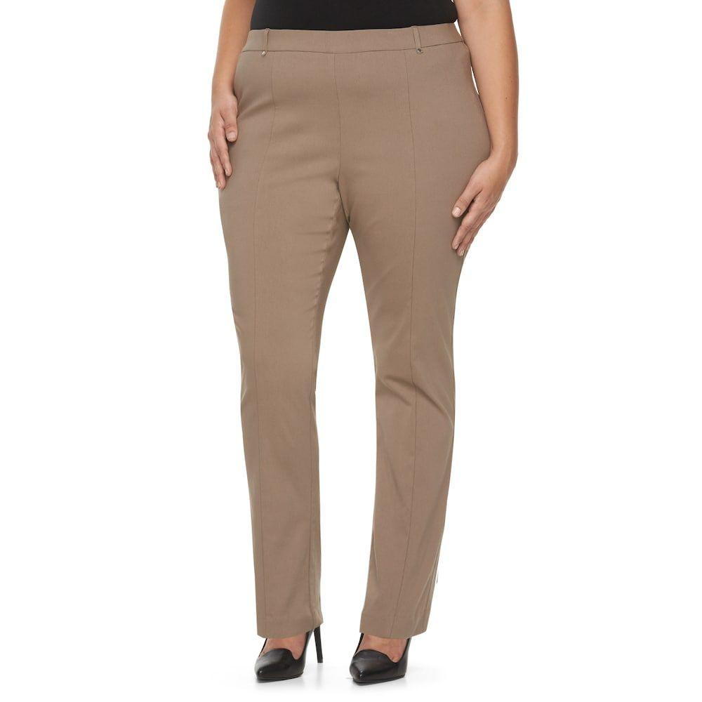 09e2be5bd9 Plus Size Napa Valley Slimming Solution Straight-Leg Dress Pants, Women's,  Size: 24 W, Dark Brown