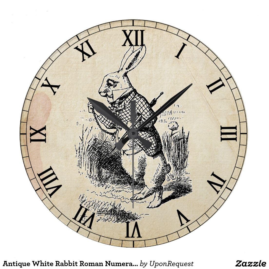 Antique white rabbit roman numeral wall clock via zazzle home antique white rabbit roman numeral wall clock via zazzle amipublicfo Image collections