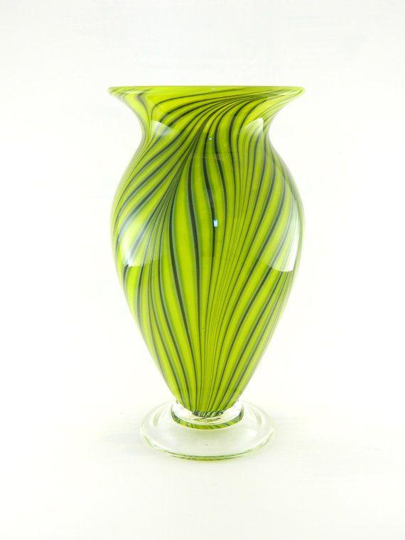 Hand Blown Art Glass Vase Bright Lime Green By Paradiseartglass