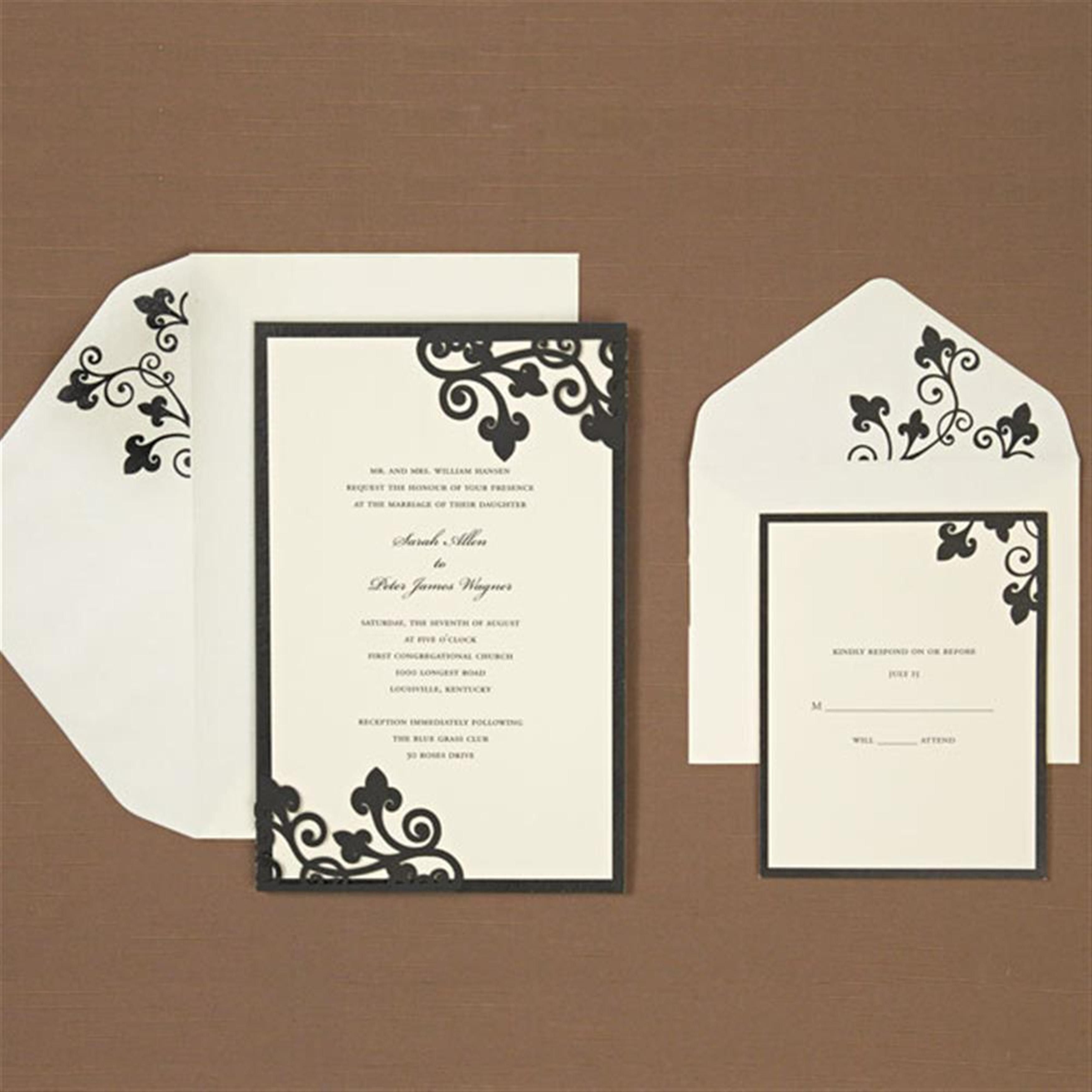 Brides Black Ivory Laser Corner Invitation Kit Kits Wedding Supplies