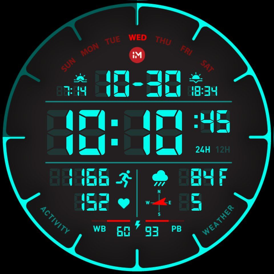 Themeable watch face with heart rate and steps count. App