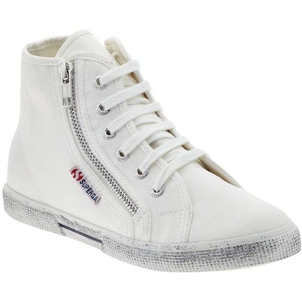 Superga 2224 COTDU ❤ liked on Polyvore featuring shoes, sneakers, white, high top sneakers, white hi tops, white hi top sneakers, white sneakers and lace up high top sneakers