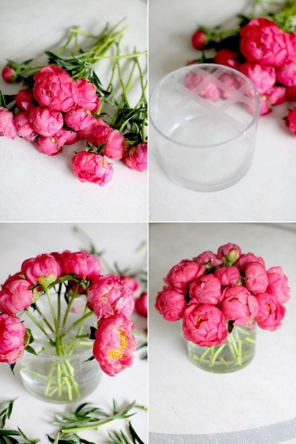 Diy Flower Arrangement Peonies 3 Ways Arranjos De Flores Diy