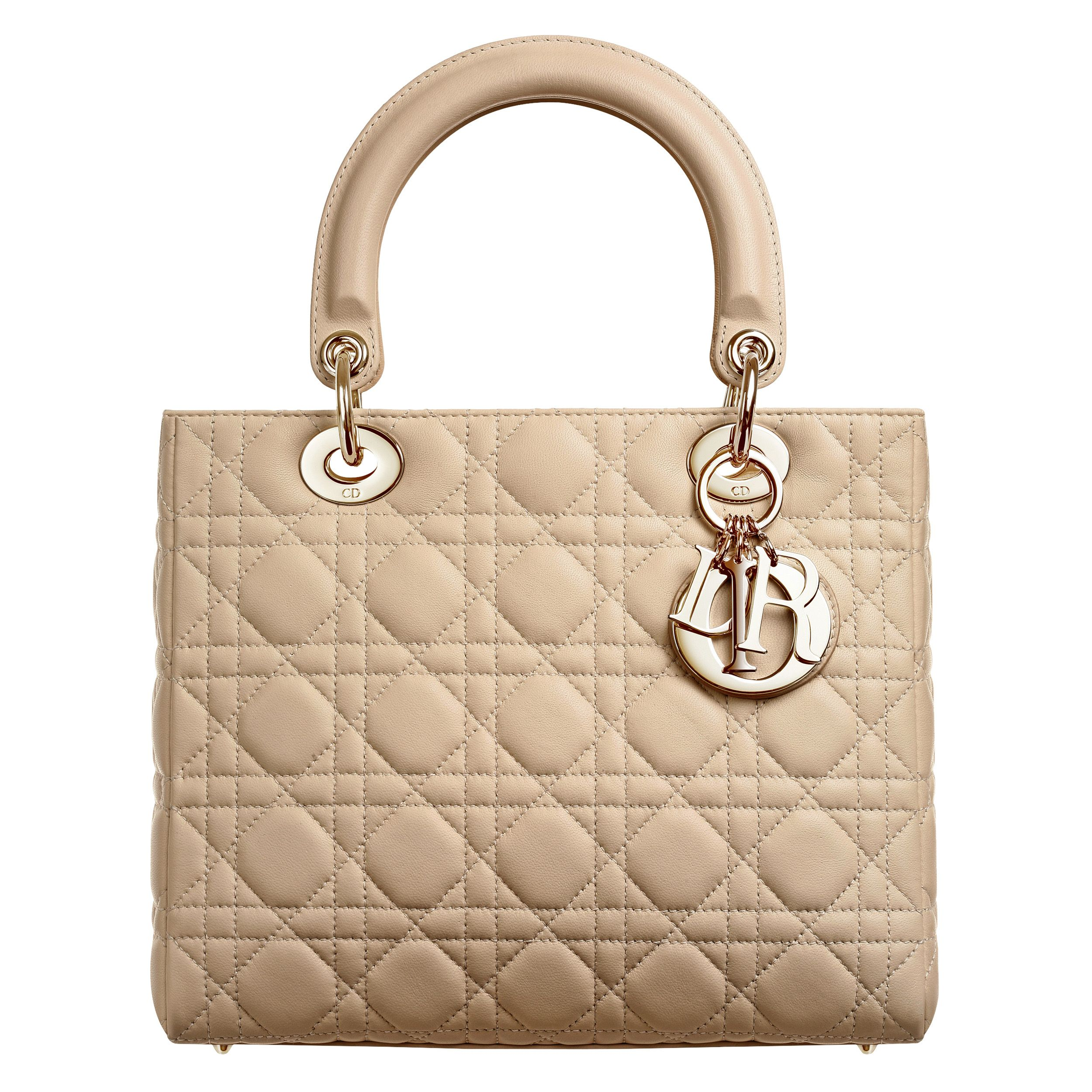 LADY DIOR - Lady Dior bag in beige leather