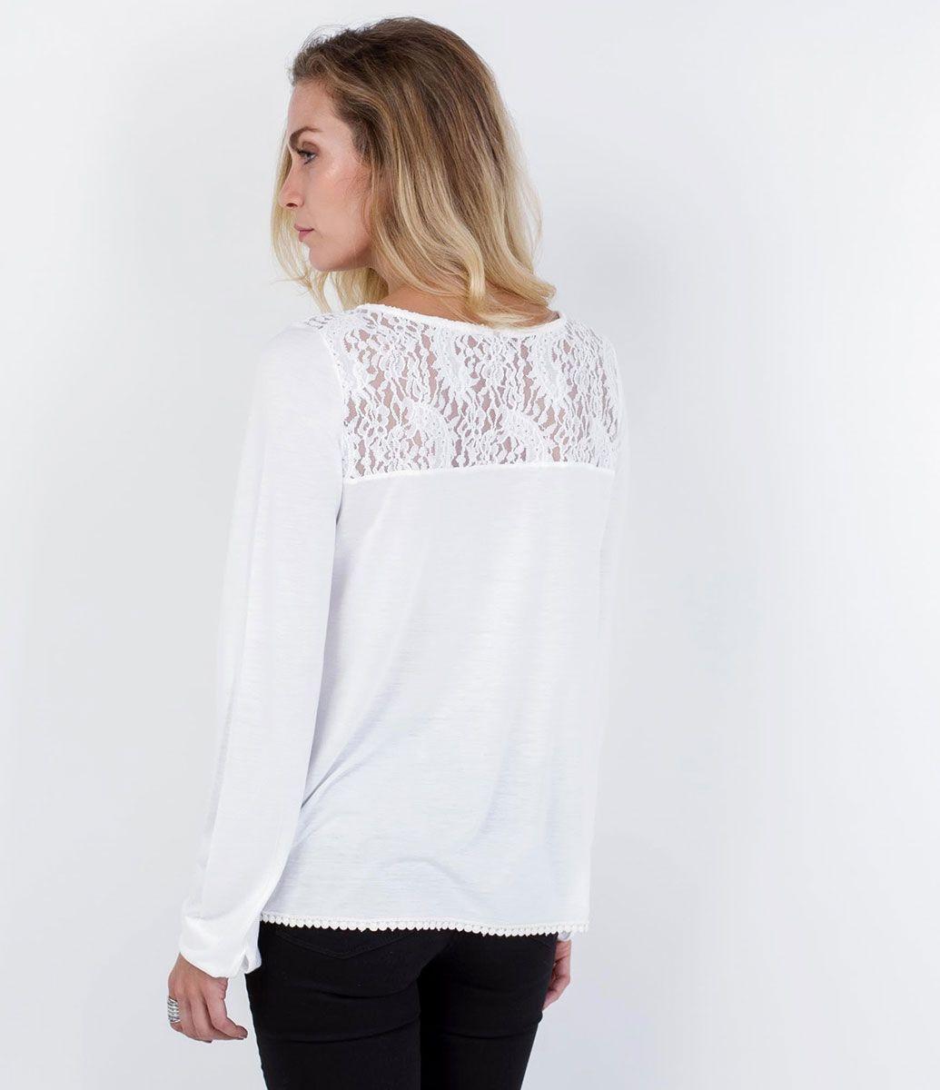 Blusa feminina listrada manga longa em tricô fio tinto