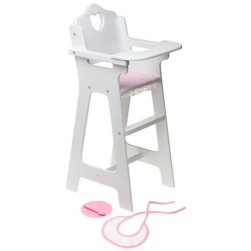 High Chair Toy Holder : Wooden high chair with plate bib and spoon for inch