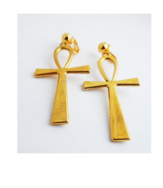 Gold Ankh Clip On Earrings Non Pierced Dangle Egyptian Ankh Jewelry
