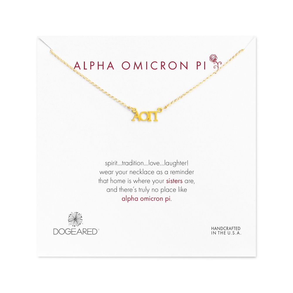 Alpha omicron pi sorority necklace gold dippedalpha