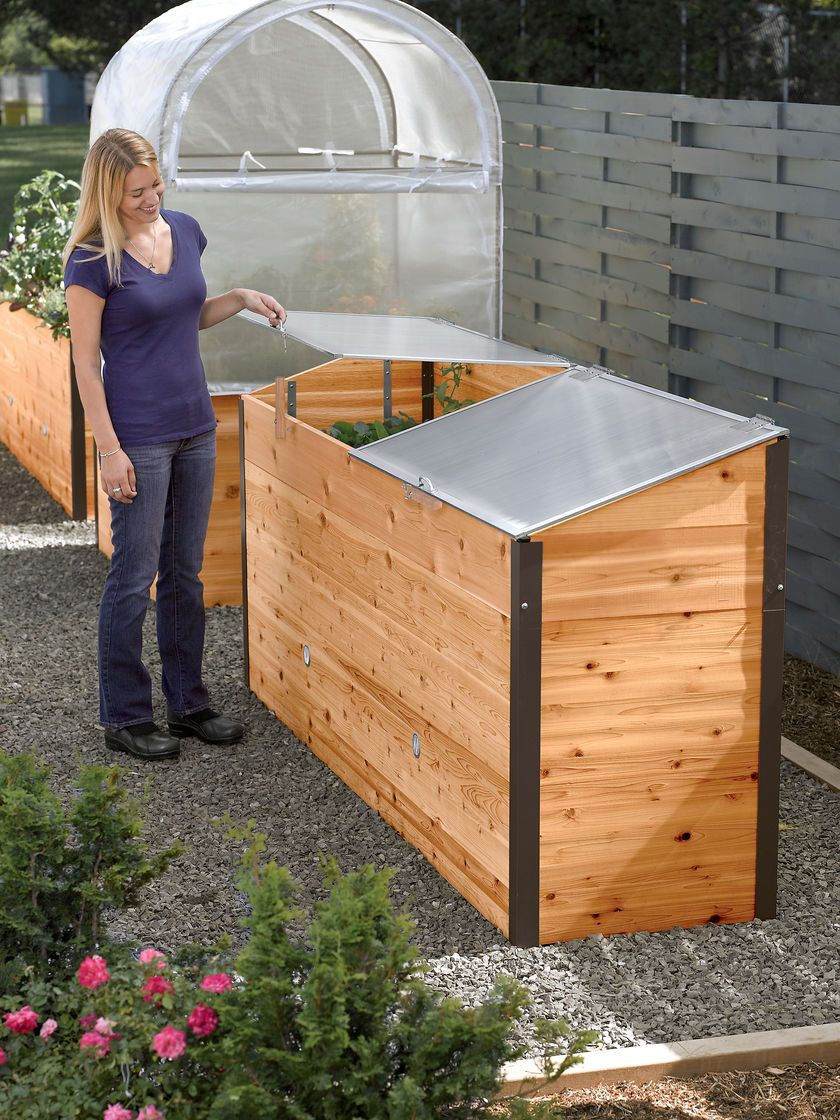 Grow House® Greenhouse Elevated Raised Bed With Cold 640 x 480