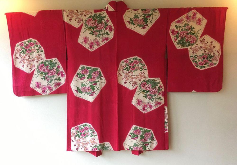 Vintage Japanese Kimono Haori Jacket Silk red rokkaku floral