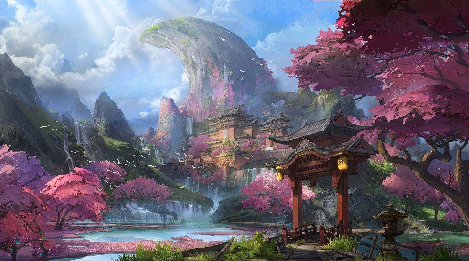 artwork fantasy art Chinese architecture mountains