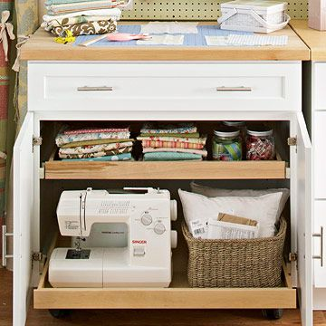 A kitchen island cabinet to store things (great with slide out shelves)
