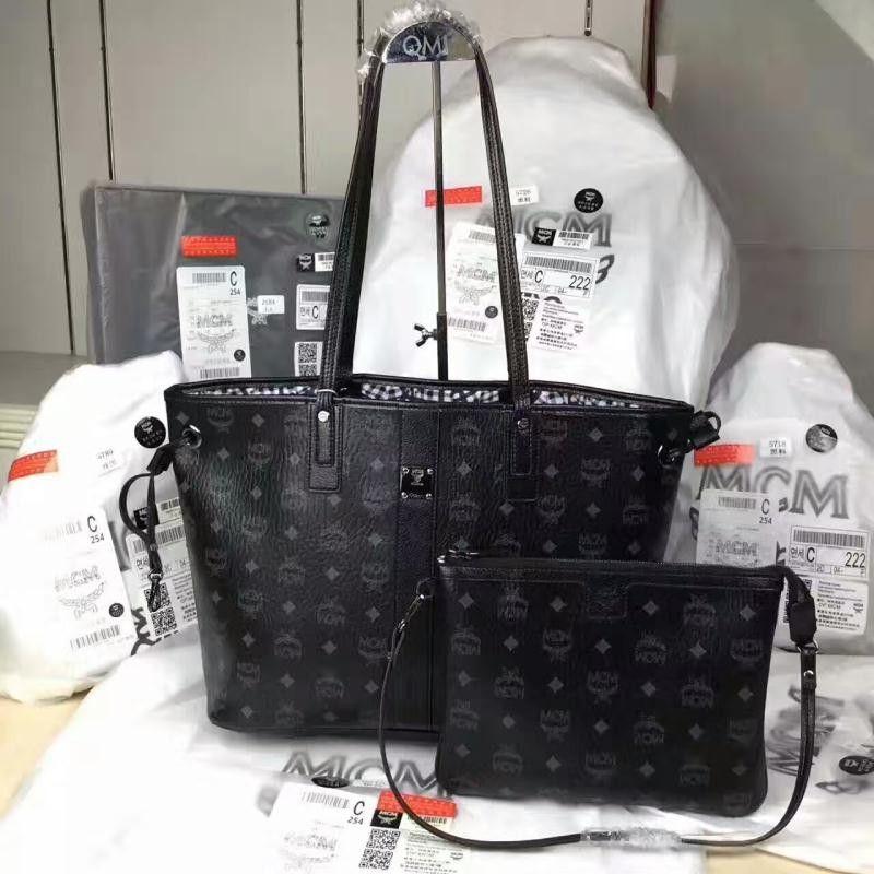 MCM Liz Reversible Medium Black Visetos Tote Shopper