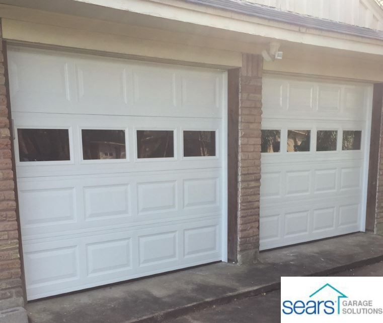 Two 8x7 Stratford Garage Doors With Custom Windows Garage Doors Garage Door Opener Installation Garage Door Styles