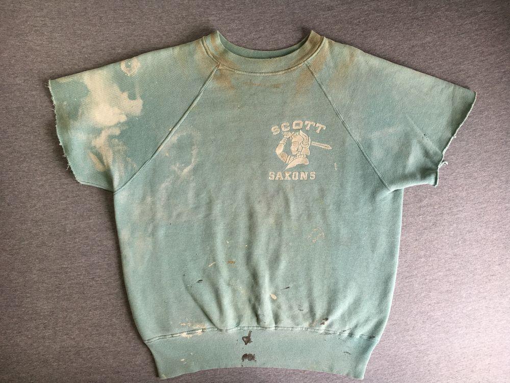 Vtg Sweatshirt 50s 60s Short Sleeve Cotton Scott Saxons Flocked Distressed M #Unbranded #SweatshirtCrew