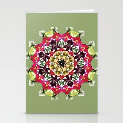 Tropical ladyslipper orchid mandala 2 Stationery Cards by RVJ Designs - $12.00