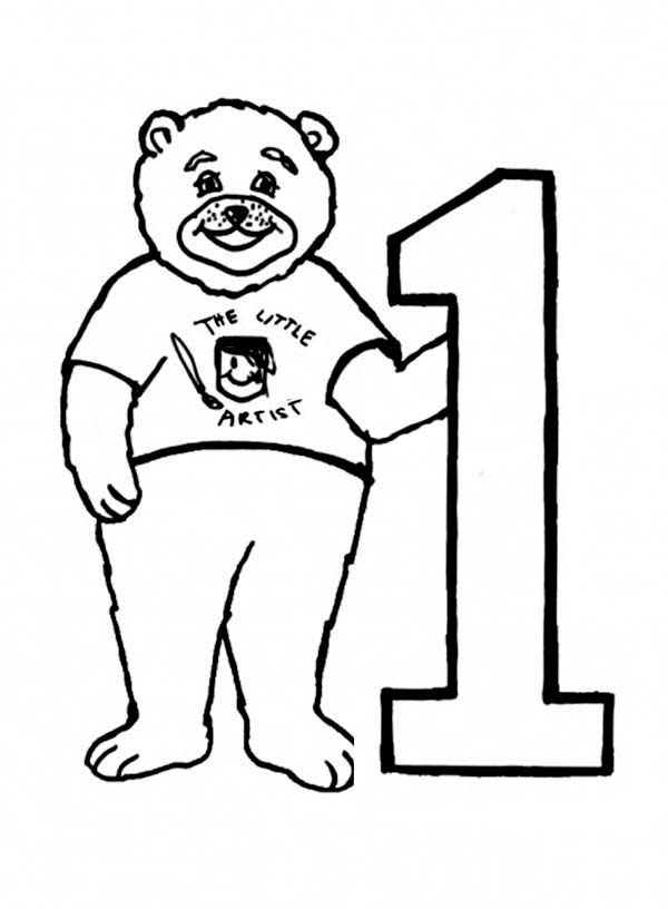 Big Bear And Number One Coloring Page Netart Bear Coloring Pages Coloring Pages Big Bear