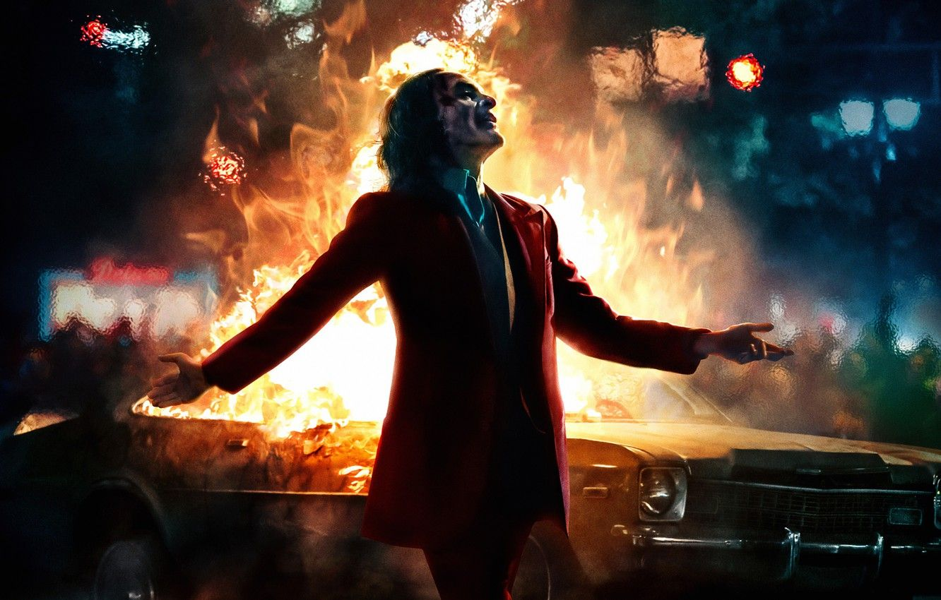 Wallpaper The Explosion Fire Joker Costume Art Joker 67 4k