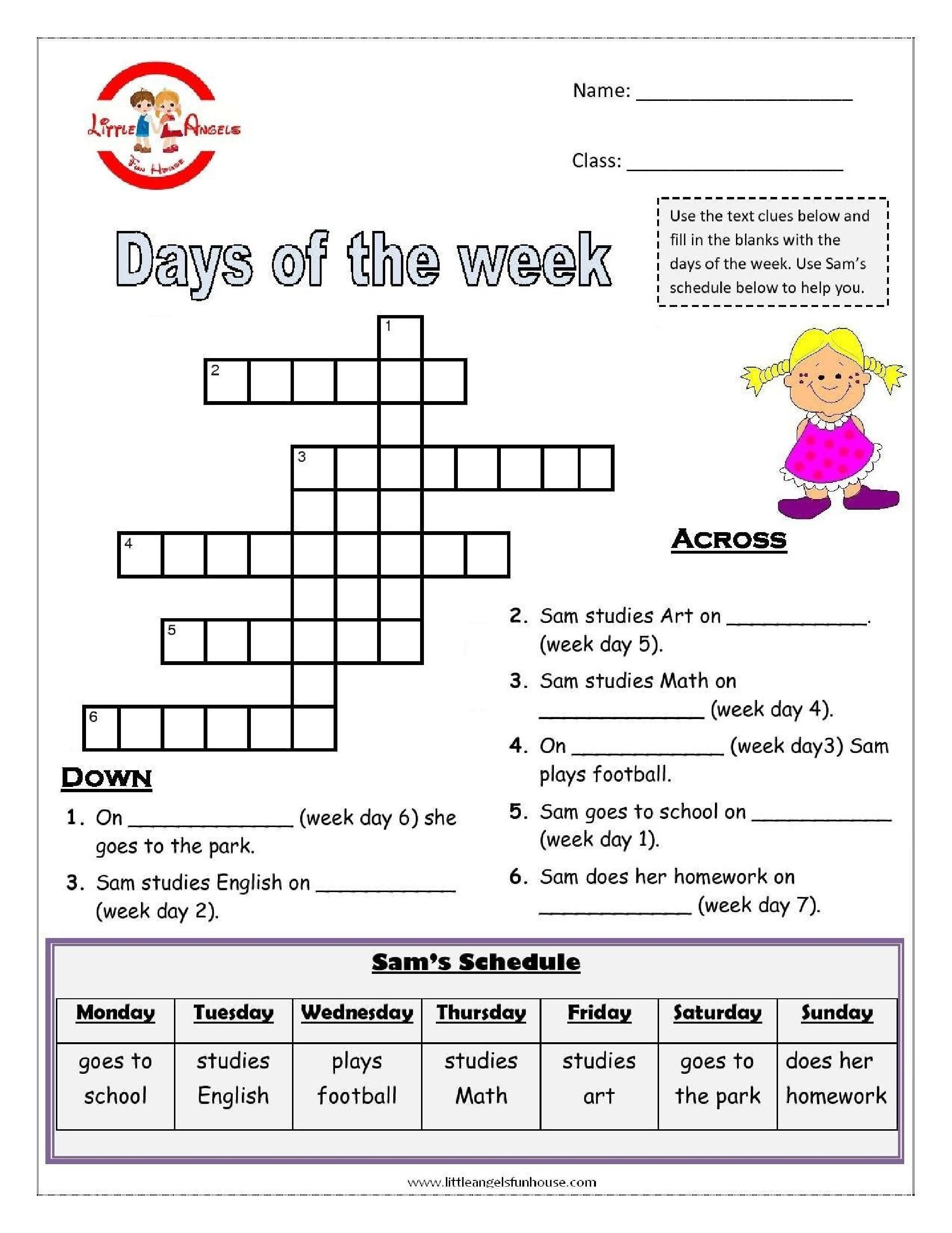 Los Meses En Ingles Days Of The Week English Worksheets Talle