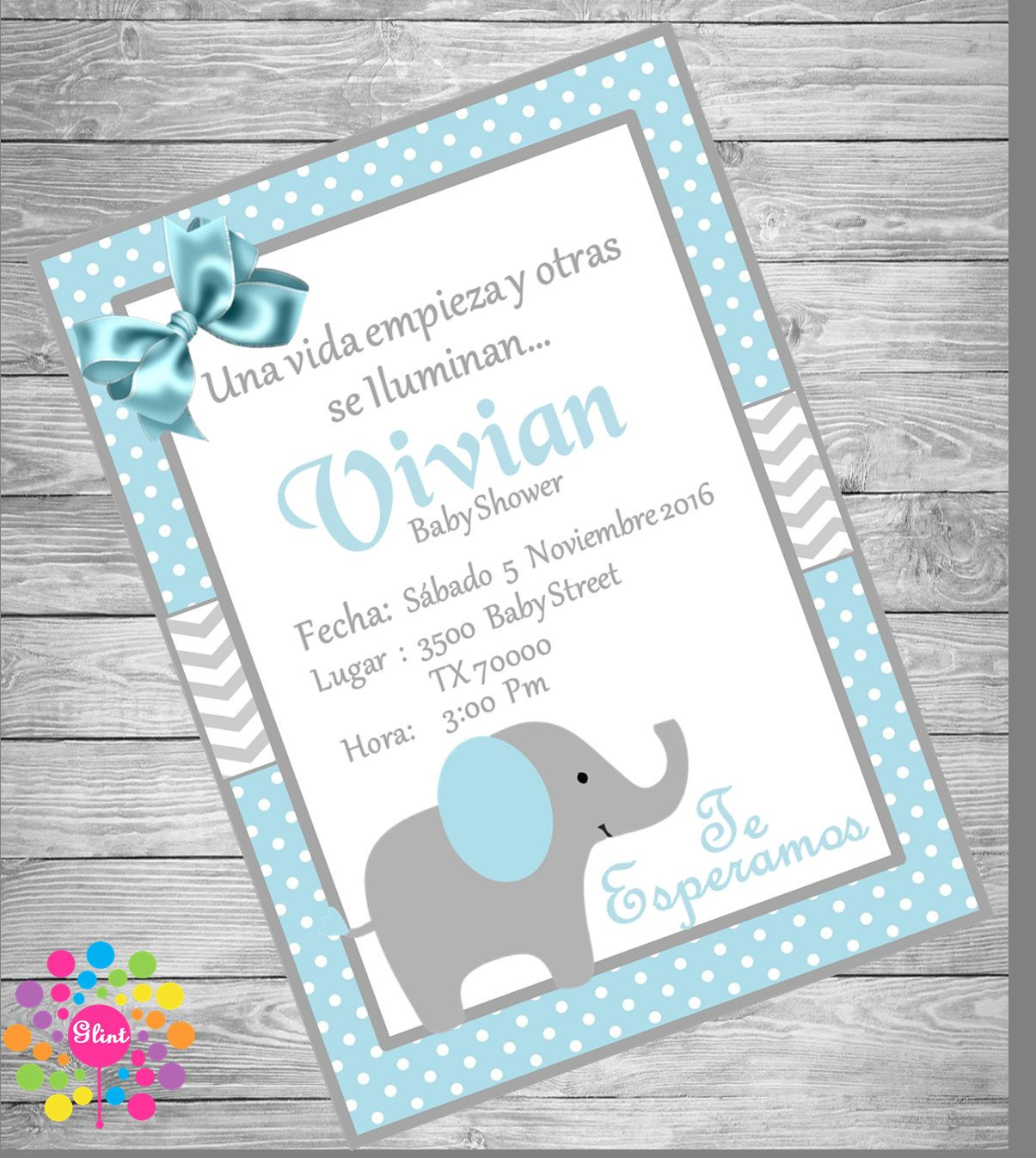 INVITACIÓN Baby Shower ELEFANTE Para Niño!!!! De IdeasGlint En Etsy
