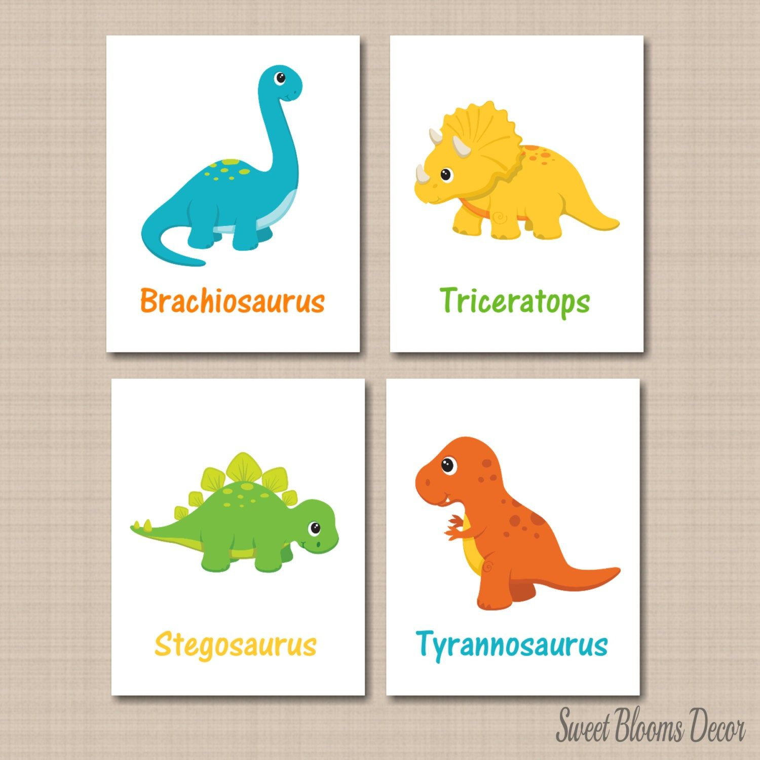 Boys Nursery decor Baby Gift wall art Dinosaur Name Print