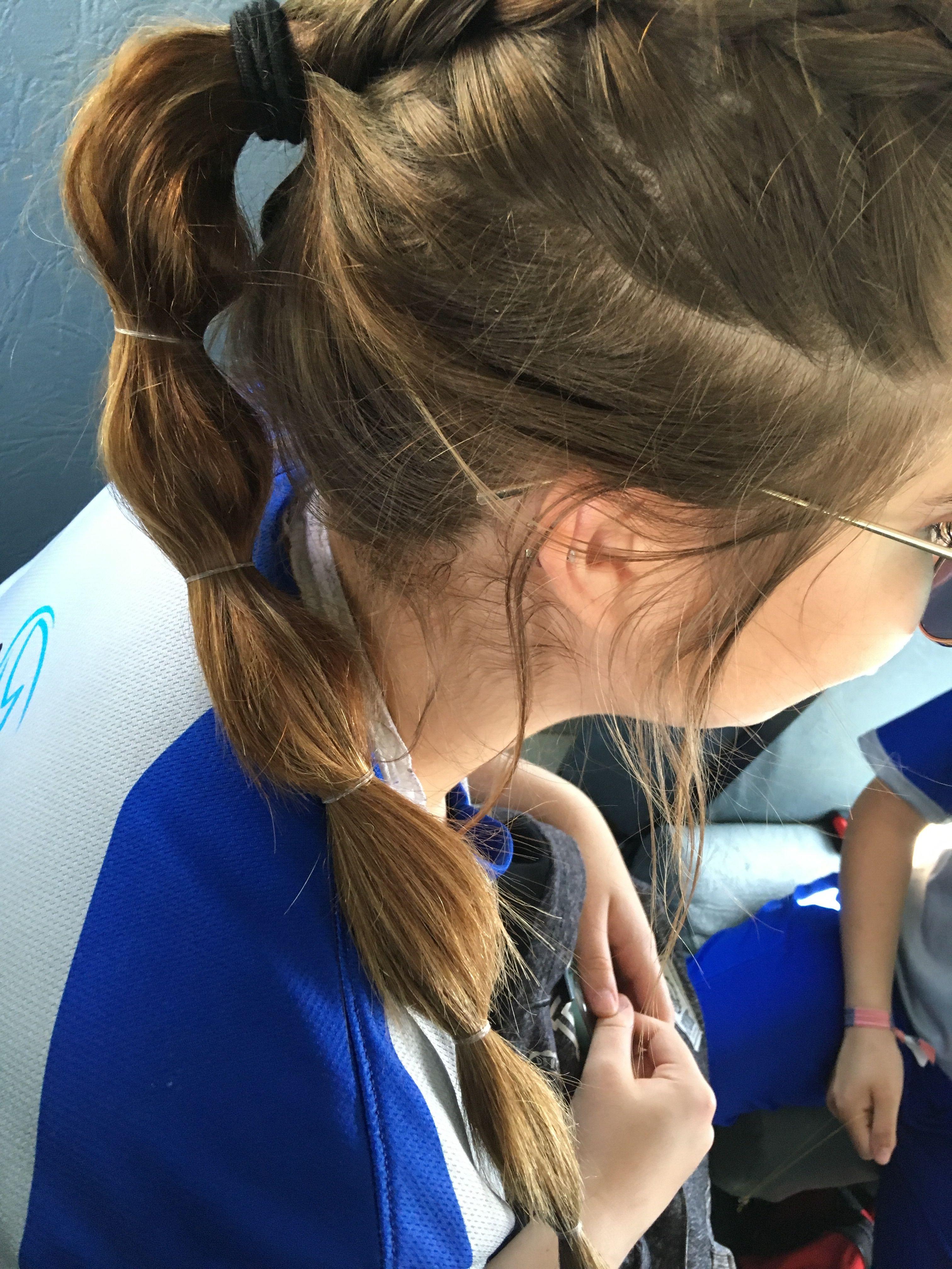 Dutch Into Bubble Braid Ponytail Softball Hairstyles Sporty Hairstyles Softball Hairstyles Sports Hairstyles