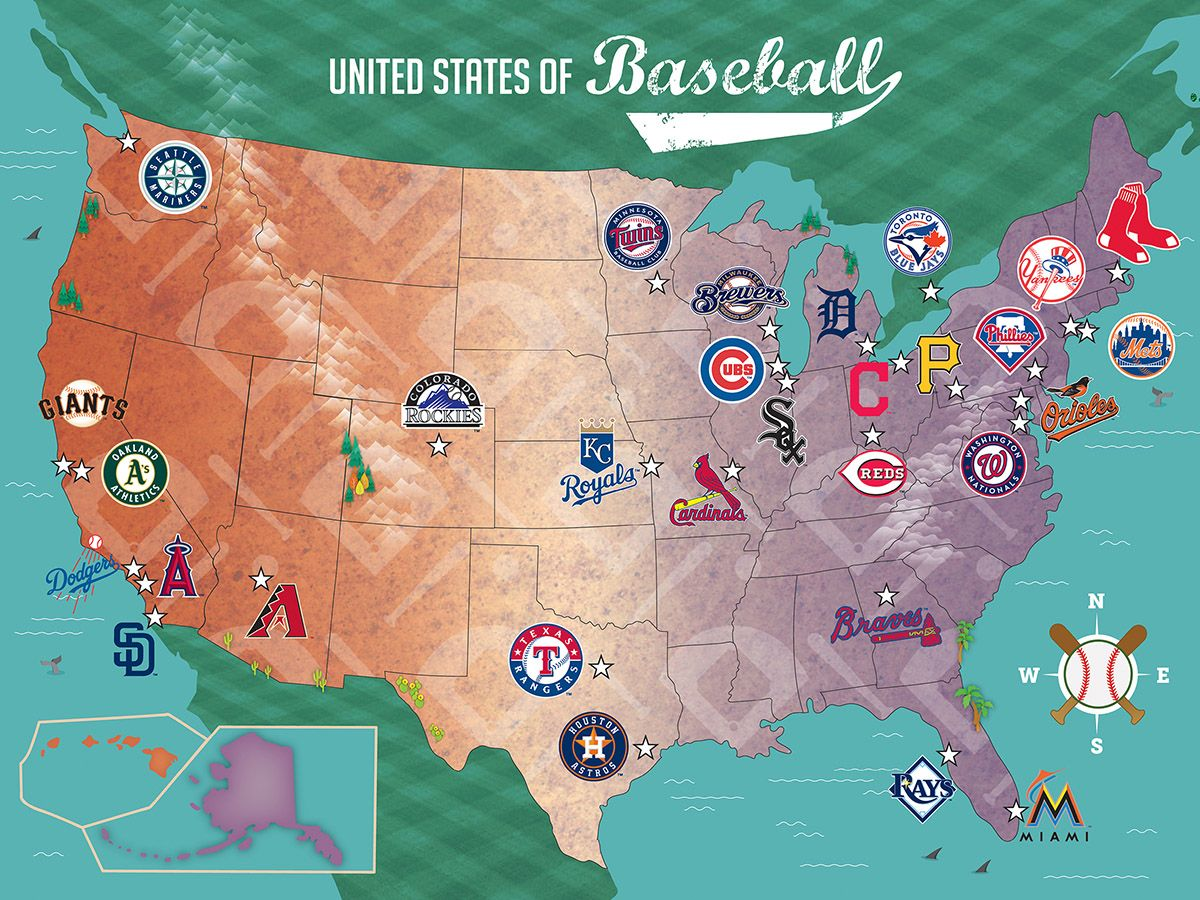 Us Map Of Mlb Teams MLB USA Map, 500 Pieces, MasterPieces | Puzzle Warehouse in 2020