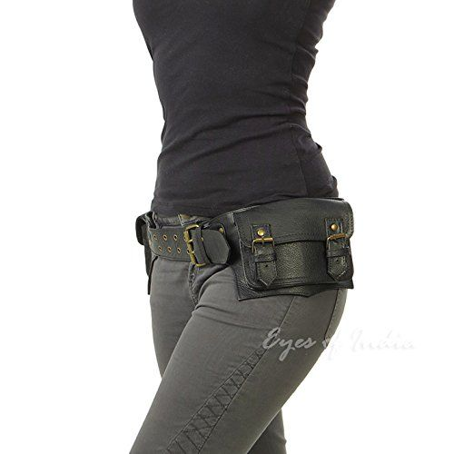 ce9db354b Amazon.com  EYES OF INDIA - Black Leather Belt Waist Hip Bum Bag Pouch  Fanny Pack Utility Pocket Travel Phone  Sports   Outdoors