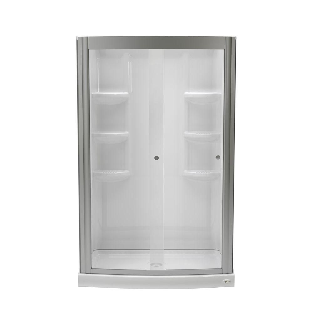 American Standard Ovation 33 5 In X 48 In X 75 25 In Combo 5 Piece Shower Kit In Arctic And Brushed Nickel Bdw001 Ov 011 295 Shower Kits Corner Shower Kits Shower Surround