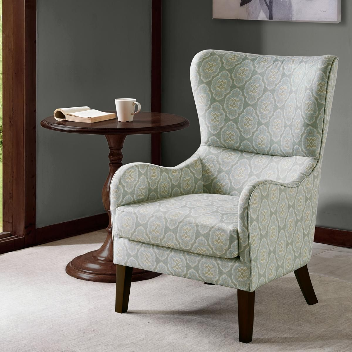 Hampton Park Arianna Swoop Wing Chair In Archer Heron Nebraska Furniture Mart Floral Chair Living Room Blue Accent Chairs Living Room Chairs #nebraska #furniture #mart #living #room #chairs