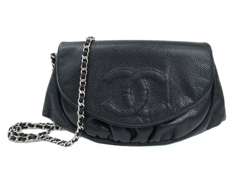 f75cd6e78c3a8f #CHANEL Half Moon Wallet on Chain Shoulder Bag Caviar Skin Black  (BF106706): All…