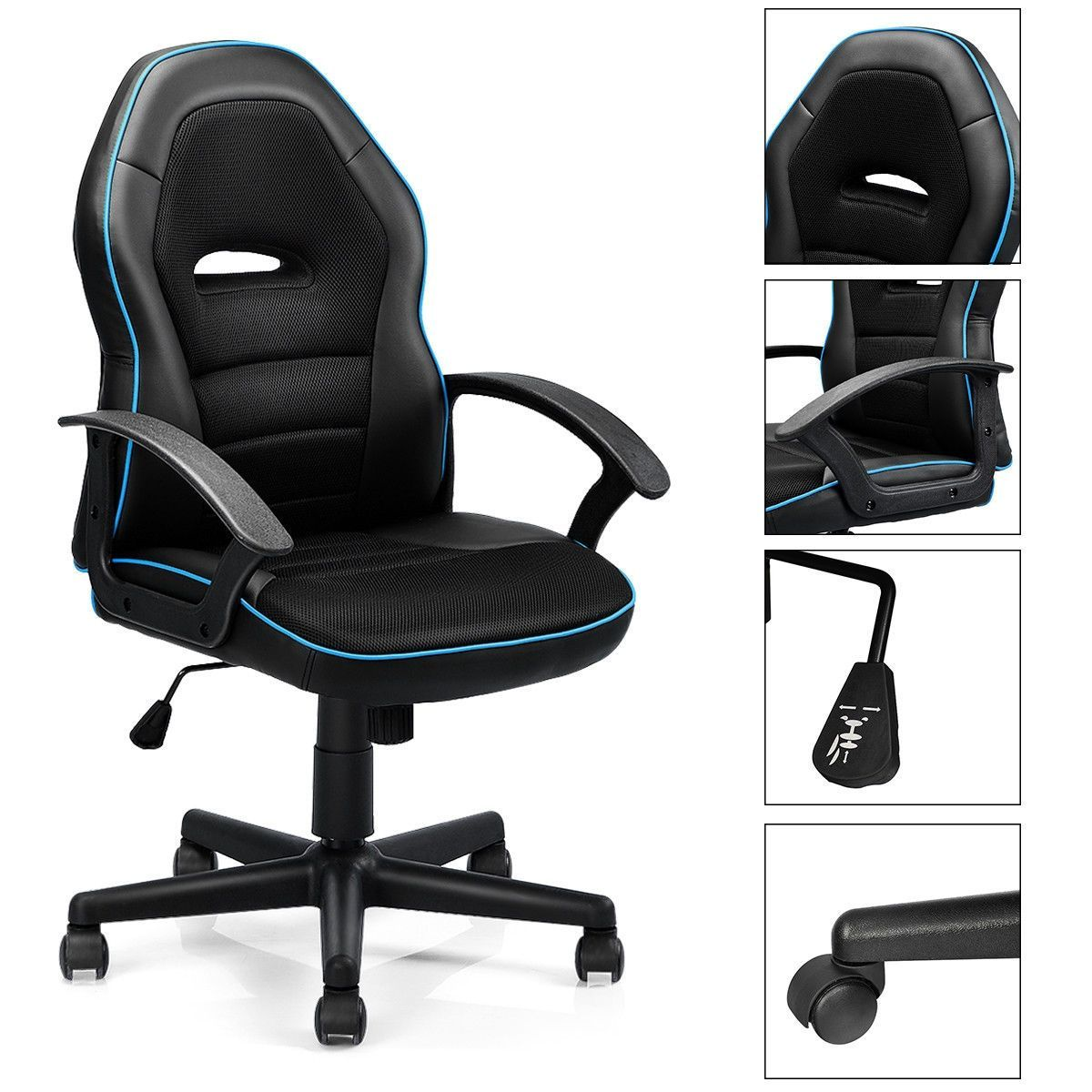 Gaming Chair Mid-Back Office Chair Racing Chair for Swivel Desk,  #Chair #Desk #gamestoplaywithfriends #Gaming #MidBack #office #Racing #Swivel