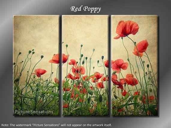 Framed Huge 3 Panel Flower Floral Red Poppy Giclee Canvas Print ...