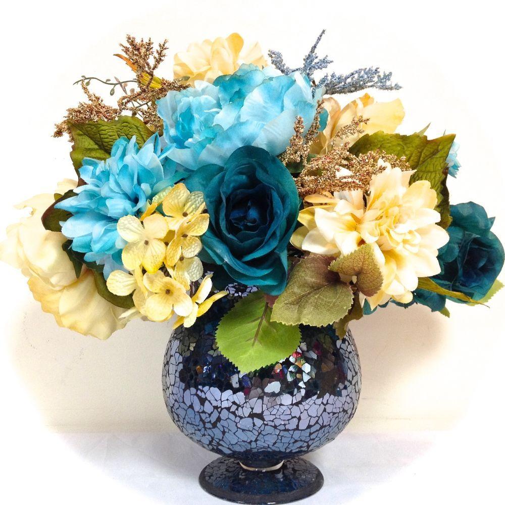 Sold silk floral arrangement turquoise blue cream blue crackle silk floral arrangement turquoise blue cream blue crackle glass vase 14hx15 reviewsmspy