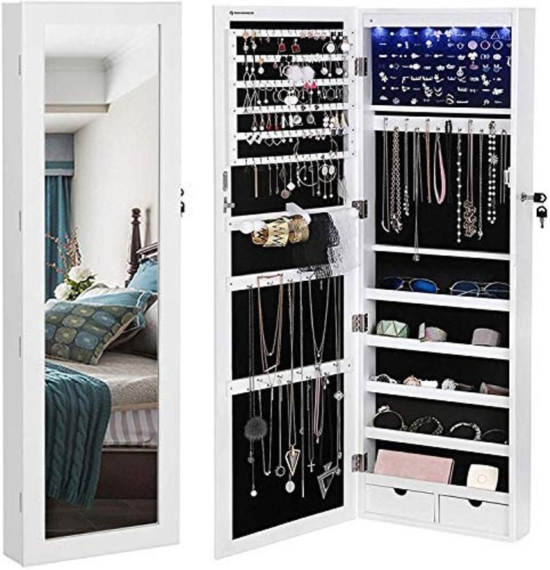 26++ Wall mounted wooden jewelry armoire and mirror with led lighting ideas